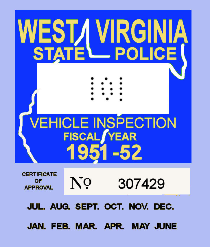 1951-52 West Virginia inspection sticker